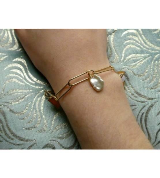 goud goudkleurige armband met natuurlijke steen