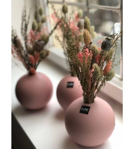 Roze bolle pot met mini droog boeketje